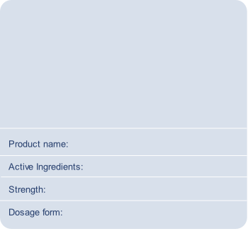 Product name:  Active Ingredients:  Strength:  Dosage form: